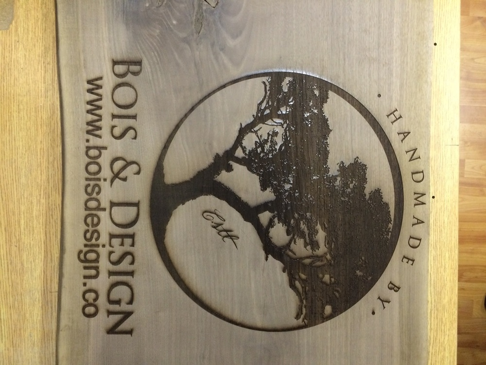 Huge wood plank laser engraved with logo