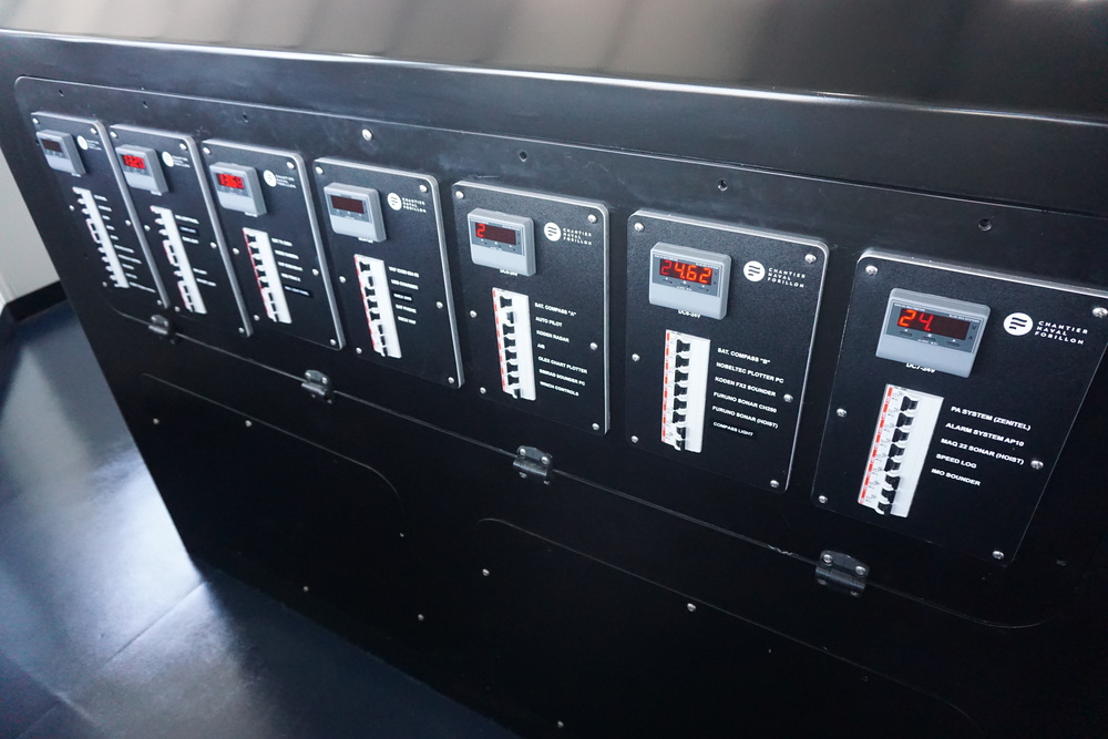 Multiple control panels installed in a boat