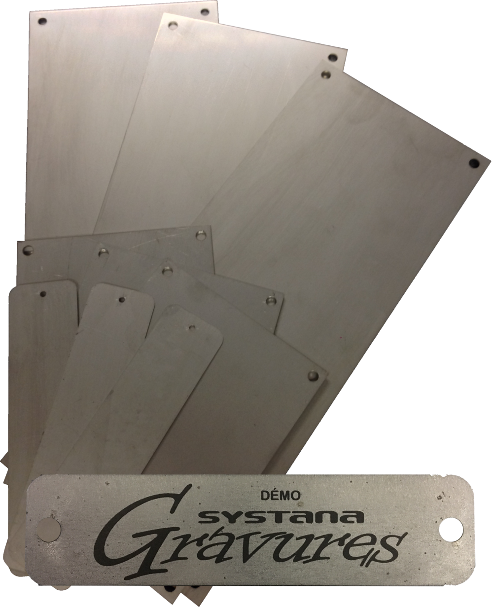 Metal tags with a laser marked exemple
