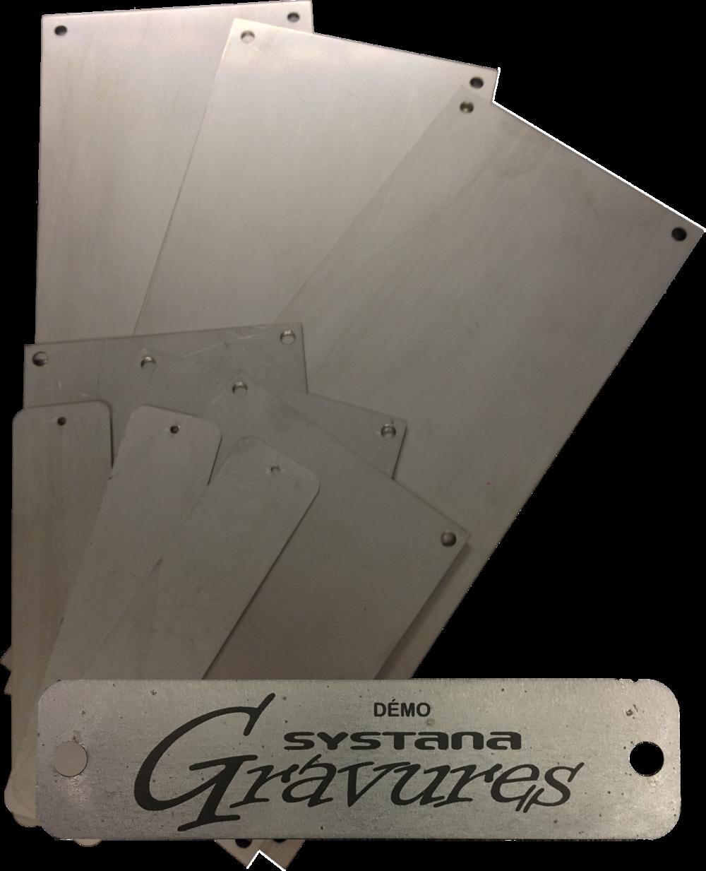 Plaques de metal avec exemple de marquage laser