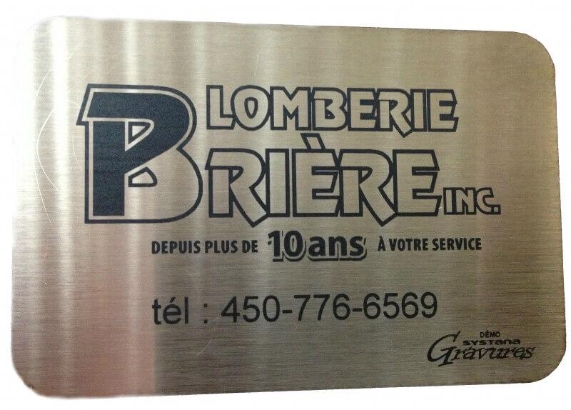 Plaque de stainless steel gravé pour plomberie briere