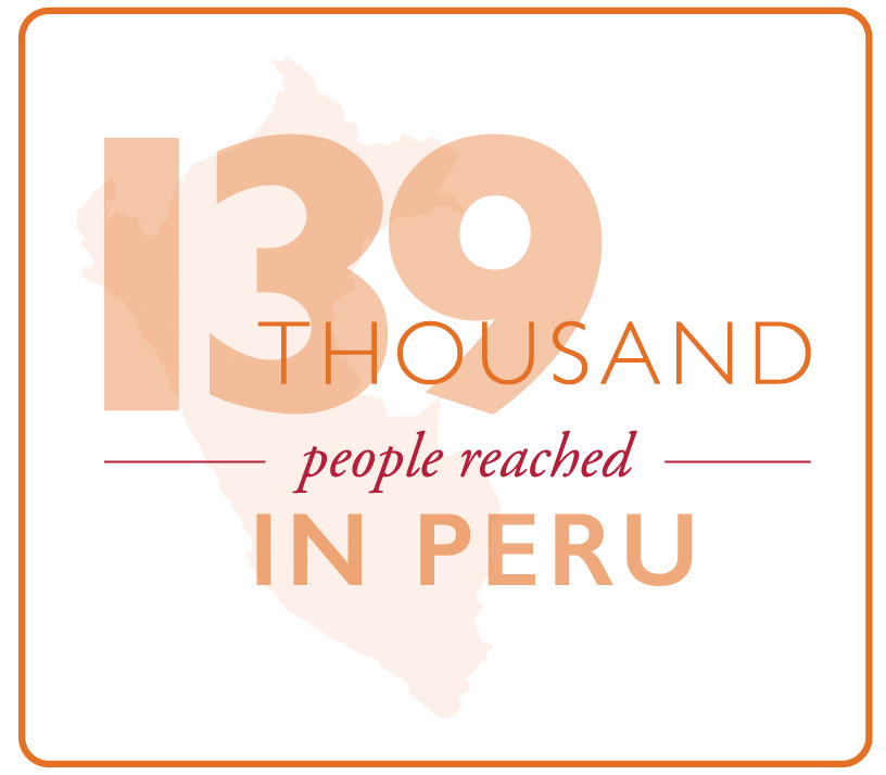 An estimated 139,000 adults and children reached by MSH's Healthy Communities and Municipalities II project in Peru.