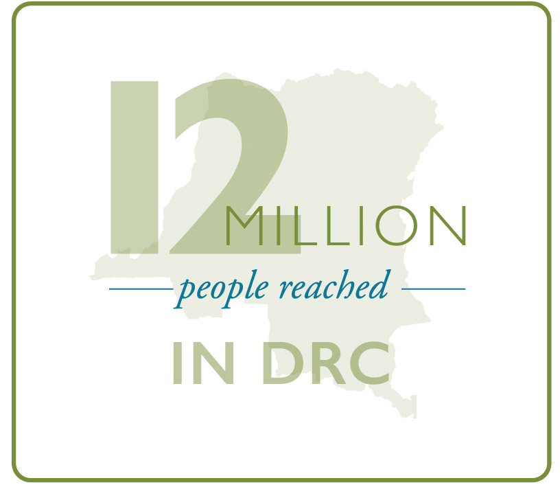 An estimated 12 million adults and children reached by MSH projects in the DRC.
