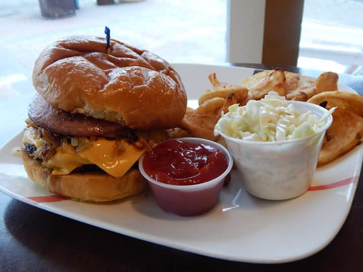 Happy National Burger Day - Monday, May 28thBurger, fries, coleslaw and a bottled drink.$8.99