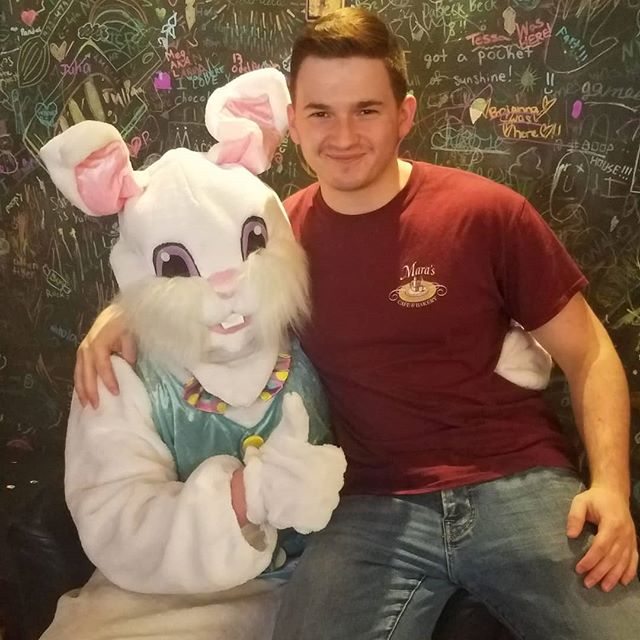 Your never too old to sit on the bunnys lap!
