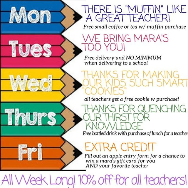This week is teacher appreciation week at Mara's come in and help celebrate the people that make a difference in every kids life.