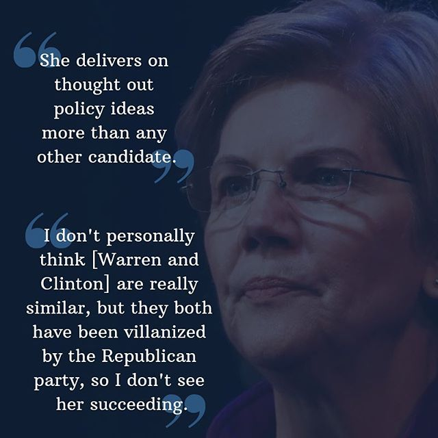 "Here at the Blue Lab, we know how important youth are to elections at the local, state, and federal level.  While our work focuses on the former, you can't ignore the news of the 2020 race. That's why we want to share our associates' takes on the 2020 election.  Kicking it off is our local Senator, Elizabeth Warren. Currently polling at around 9% in Iowa, our Blue Labbers generally like Warren, but do not believe that she will be able to succeed as Democratic nominee.  On her Native controversy, one associate weighed in, ""Warren definitely could have handled the situation better.  When it first came to light during her race against Scott Brown, she should have admitted that her Native ancestry was part of her family history, and at the time that she listed herself as Native American, she didn't fully understand how her white privilege has benefitted her in ways that someone who is fully Native would be disadvantaged. Instead, she doubled down, and that response is what has harmed her campaign more than the initial claims of Native ancestry."" While the associates who support Warren cite her strengths when it comes to policy, name recognition, and the work she has done for Massachusetts, the overall consensus is that she would not be able to get enough national support to be successful in 2020."