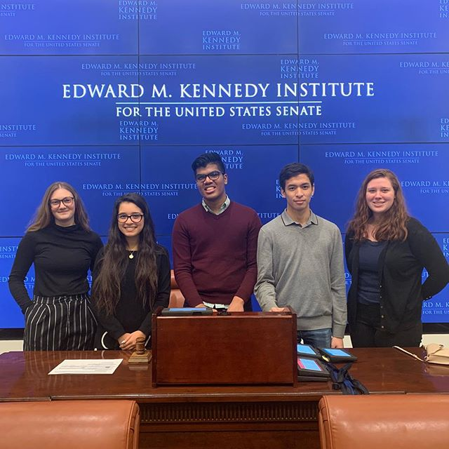 Our Associates had a great time today at the @emkinstitute playing the role of a US Senator. They got to debate and vote on a healthcare funding bill, see a replica of Sen. Kennedy's office, and learn more about the history of the Senate.