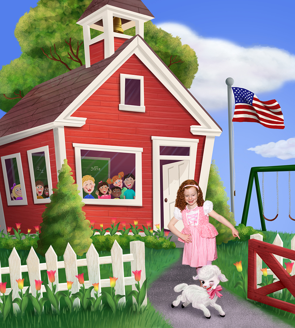 Completed illustration of Mary Had A Little Lamb featuring the red school house inspired by the original school and one from my own childhood.