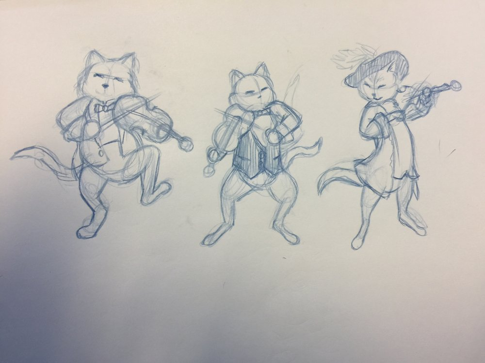 Pencil sketches of cats playing fiddles