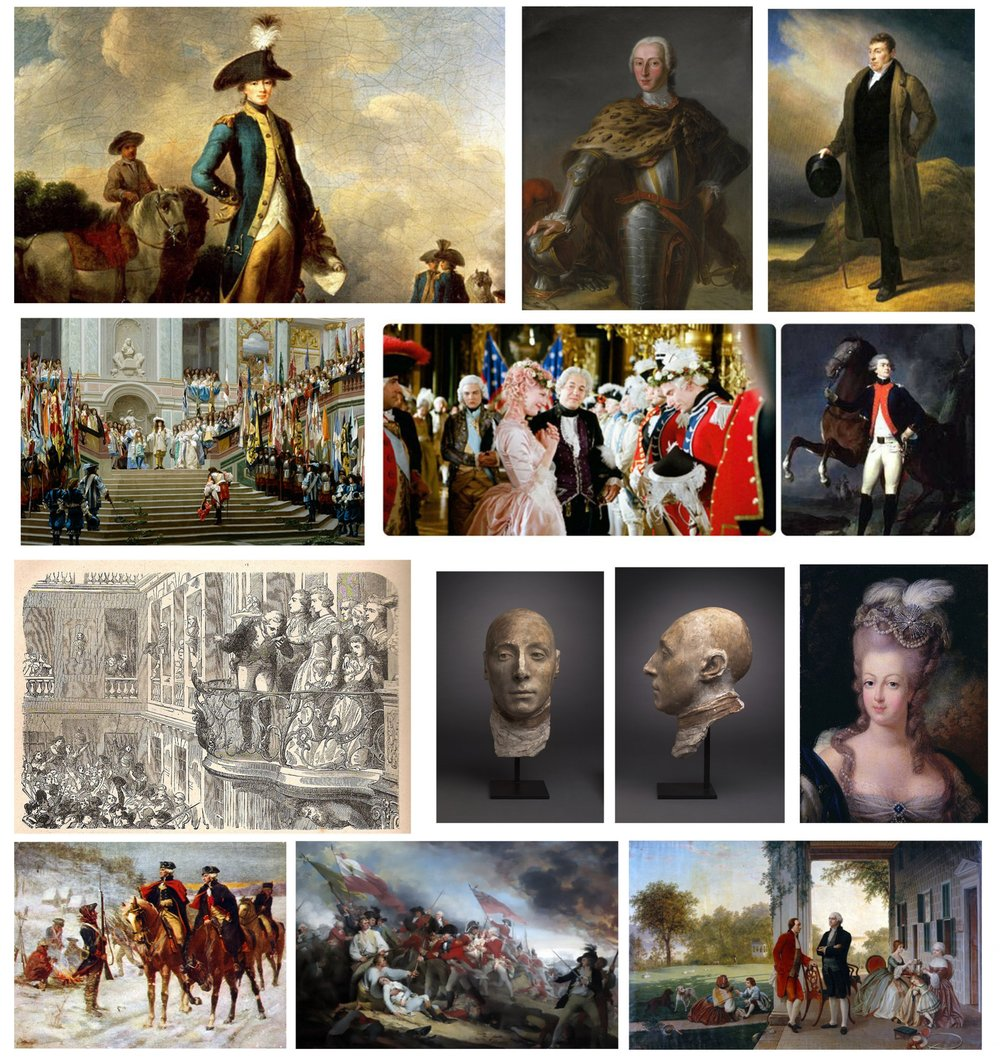 Photo references of Marquis de Lafayette.  Includes paintings, illustrations and even a cast of his head.  Also includes references for Marie Antoinette in historic painting as well as modern film adaptation.