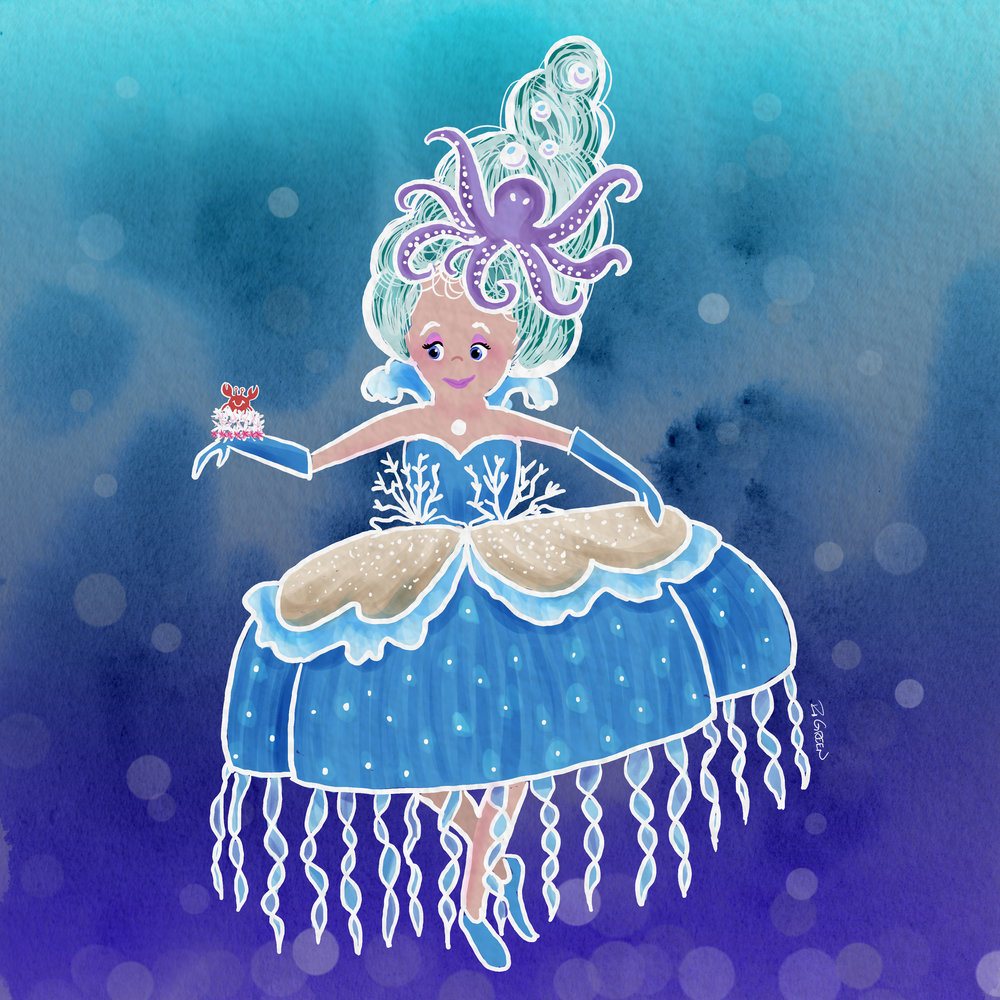 Day 4 - Underwater - Marie loved her Under The Sea Antoinette costume but it was her Let Them Eat Crab Cake wrist corsage she was most fond of.