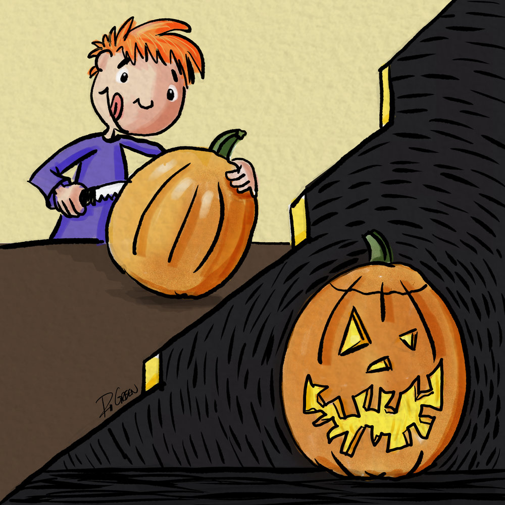 Day 8 - Crooked - Not all pumpkins get to fullfill their dreams of someday being carved by experts. Instead many pumpkins have to accept their fate of being carved by a first timer and everything being a little crooked.