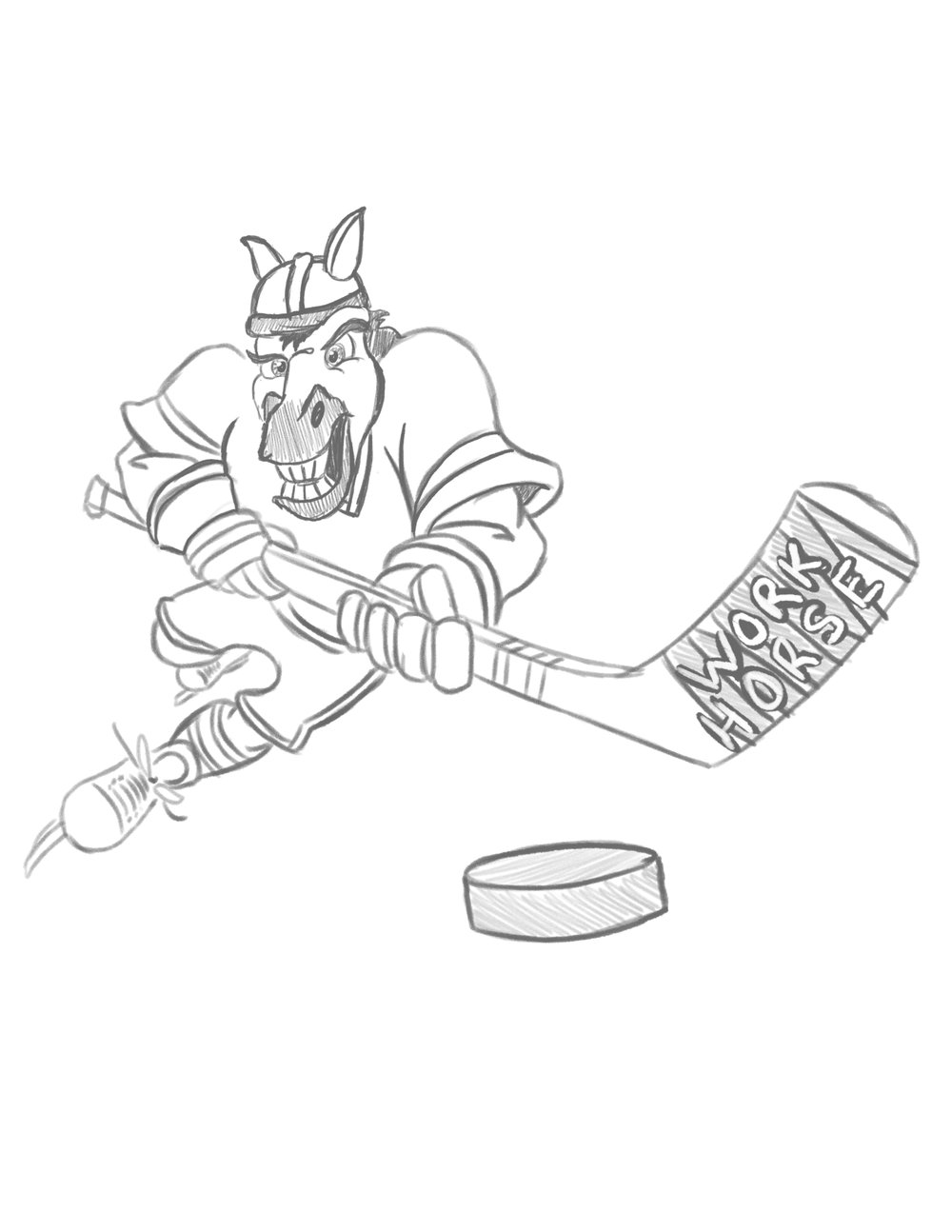 Pencil Sketch - After drawing and redrawing and pulling up countless hockey action shot references I finally had an energy I liked.