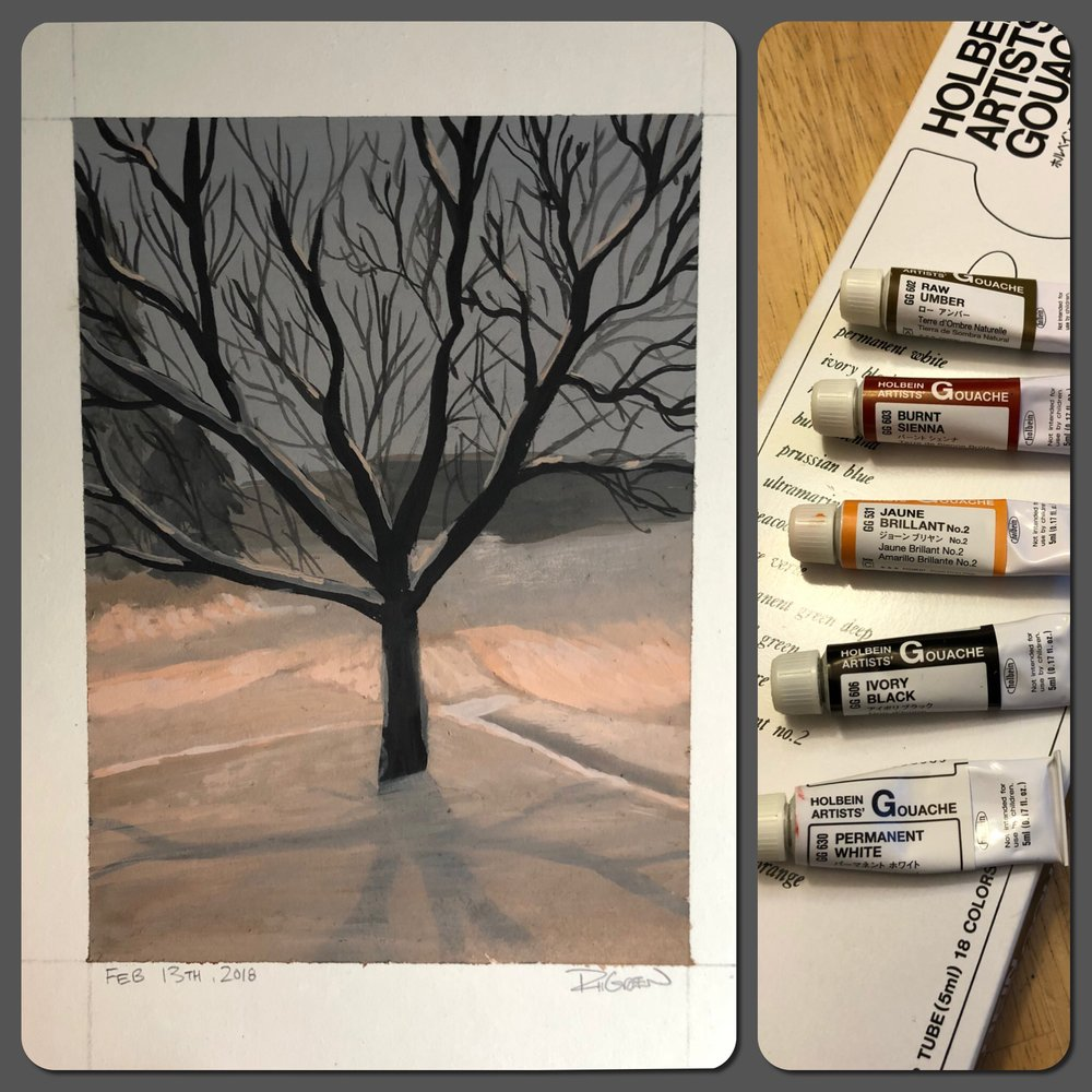 Snowy Night Gouache Study