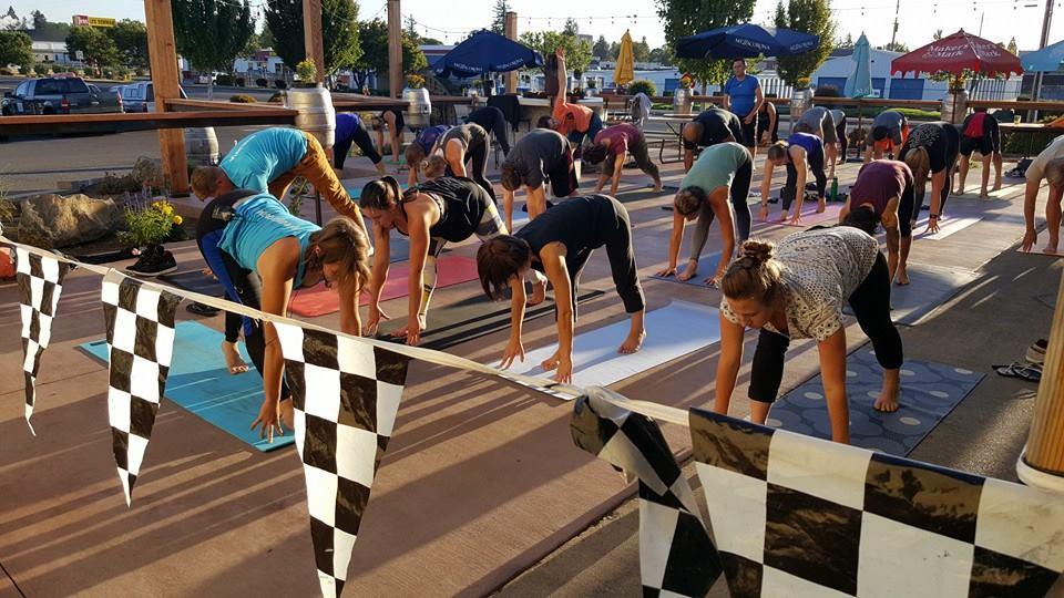 Yoga class full solar eclipse