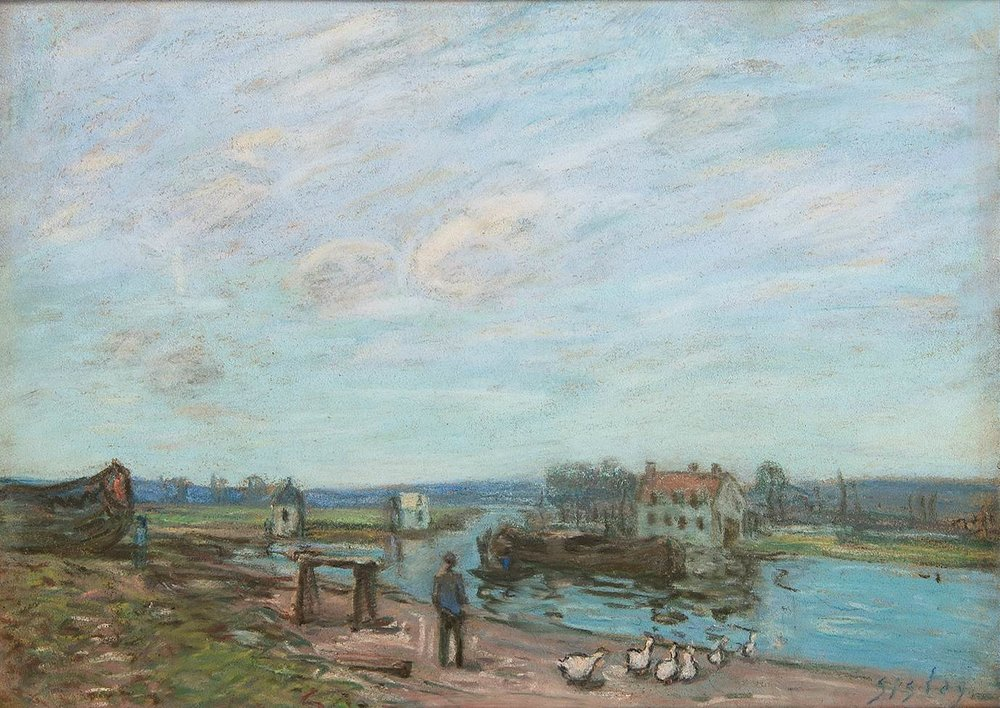 ALFRED SISLEY (French 1839-1899) Les Oies A Saint-Mammes Pastel on paper, 11 1/2 x 15 3/4 inches Signed lower right:Sisley