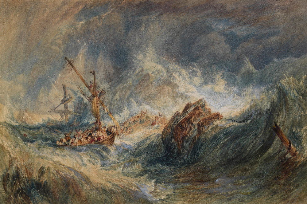 JOSEPH MALLORD WILLIAM TURNER (1775 - 1851) The Storm (c. 1823) Watercolour and bodycolour on board, 4 3/4 x 7 1/2 in.  (125 x 189 mm)