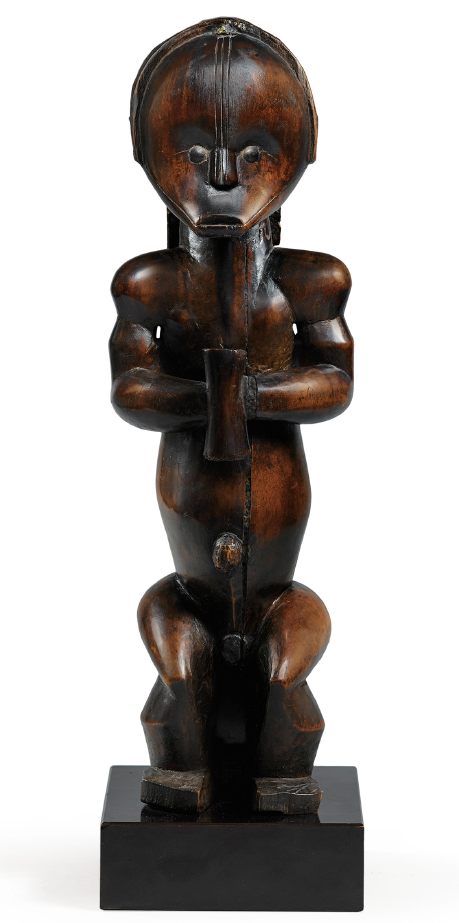 "Fang Statue Gabon Africa, 18"" height Wood/ Brass Tacks"