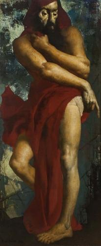 MARCEL DELMOTTE A Prophet, 1934 Oil on canvas 86 5/8 x 37 3/8 inches (220 x 95 cm)