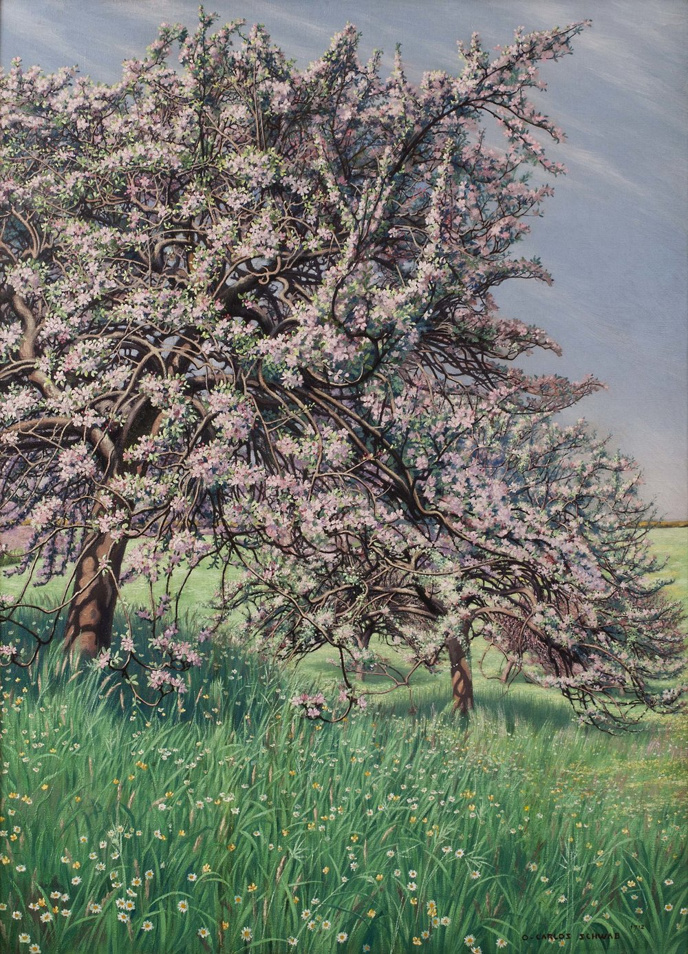CARLOS SCHWABE (Altona, Holstein 1877 - 1926 Avon, Seine-et-Marne)     Pommiers Fleuris (Blooming Apple Tree)     Signed and dated lower right:  O-CARLOS SCHWAB/1912     Oil on canvas; 39 1/4 x 28 3/4 inches (100 x 73 cm)