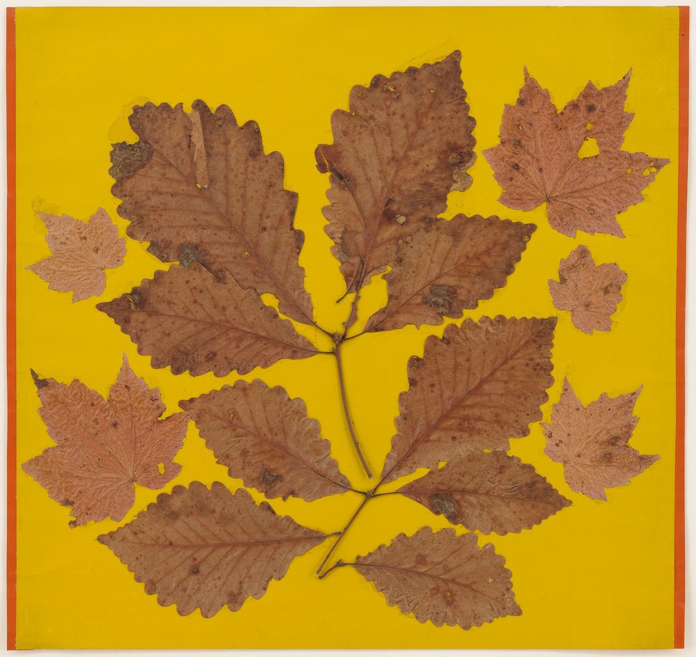 JOSEPH ALBERS  Leaf Study III , c. 1940 Leaves and colored paper 18 x 18 5/8 inches (45.7 x 47.3 cm) © 2017 The Josef and Anni Albers Foundation. Courtesy David Zwirner, New York/London