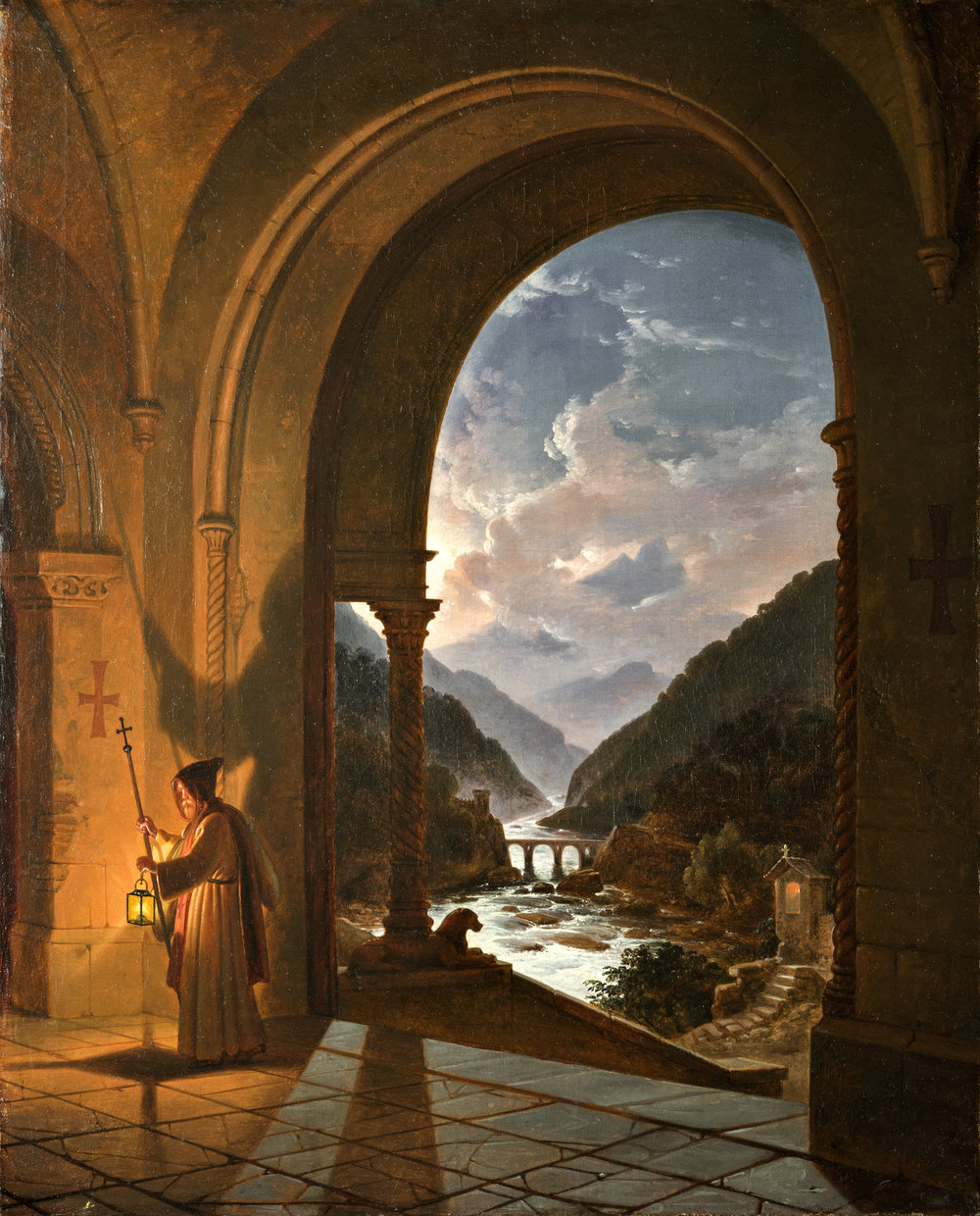 FRANZ LUDWIG CASTEL (1778 - Berlin - 1856) Hermit at a church in a moonlit landscape Oil on canvas; 24 1/2 x 19 1/2 inches