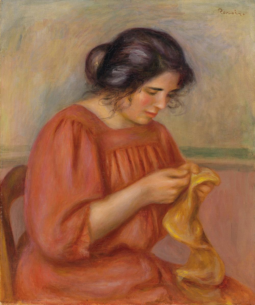 Pierre-Auguste Renoir (French, 1841-1919) Jeune fille au chapeau fleuri (Jeune fille de profil) Painted circa 1895 Oil on canvas 13 3/4 x 10 5/8 inches (35 x 27 cm) Signed Upper Right: Renoir
