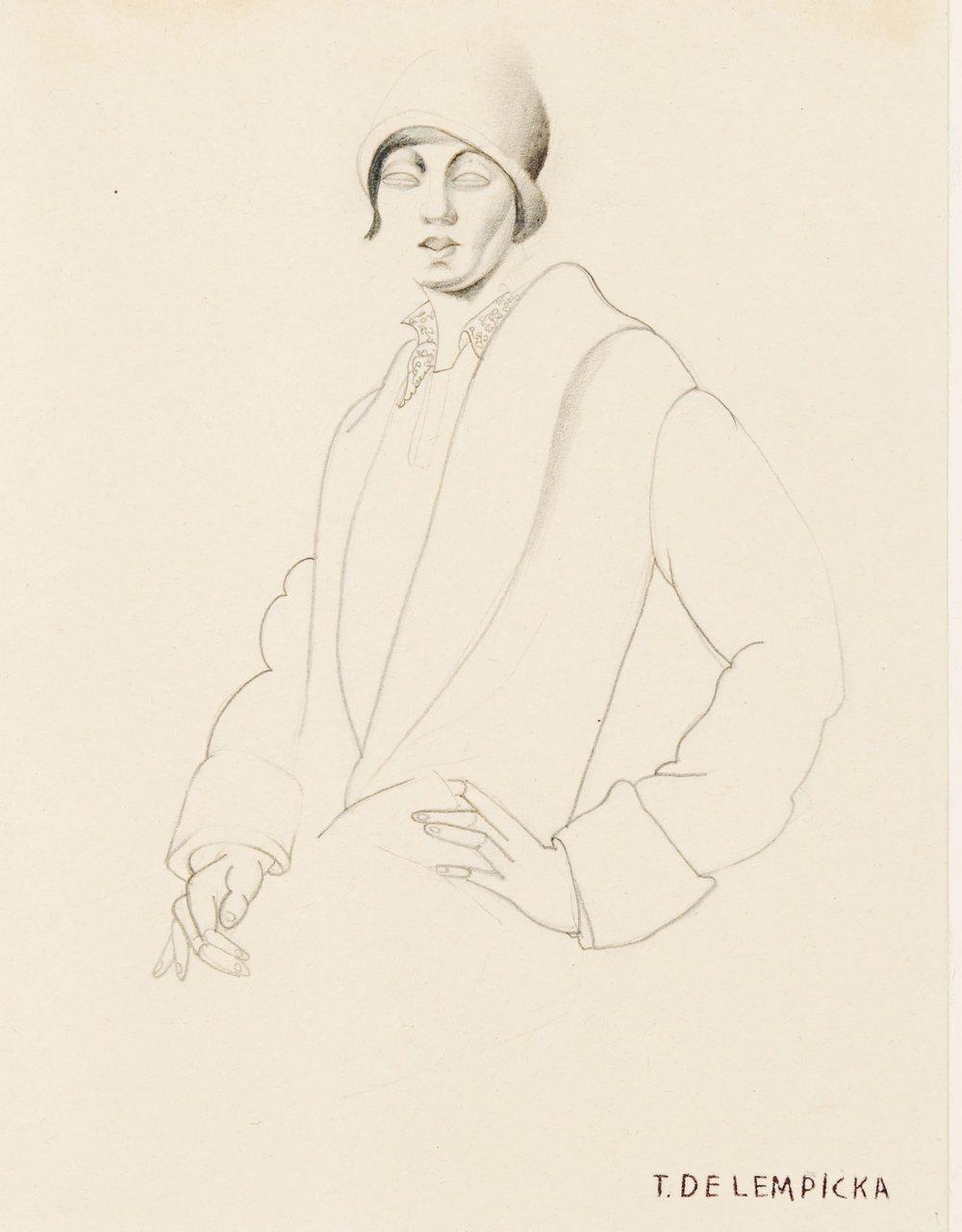 TAMARA DE LEMPICKA (1898 - 1980) Portrait d'une jeune femme au chapeau cloche, circa 1926 Pencil on paper 9 1/4 x 5 5/8 inches