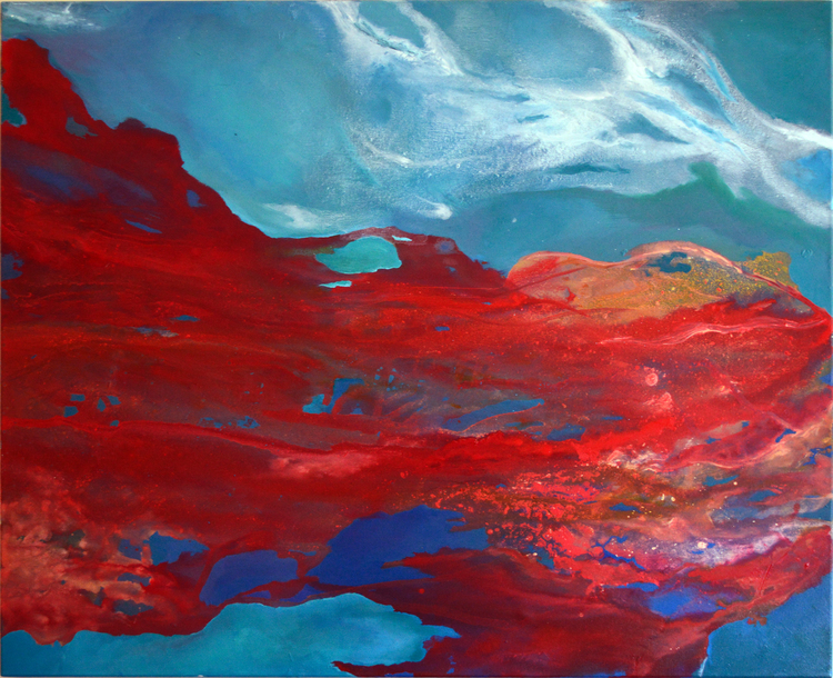 "Fire & Something Red  Mixed media on canvas  36x44""  Sold"