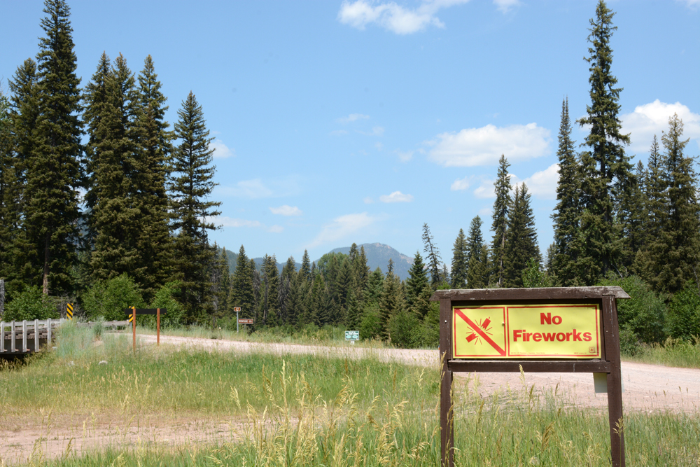 Signs warn people not to use fireworks in our national forests.