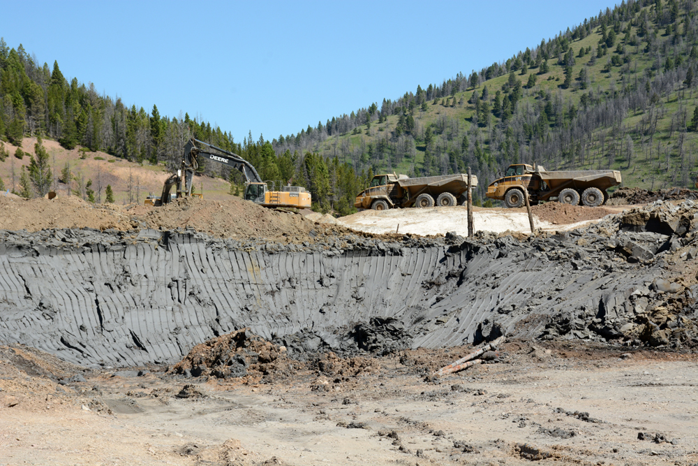 Lead-laced silt is revealed at the back of the Mike Horse Mine impoundment as DEQ crews work to remove the 1940s-era structure.                             Photo by Laura Lundquist