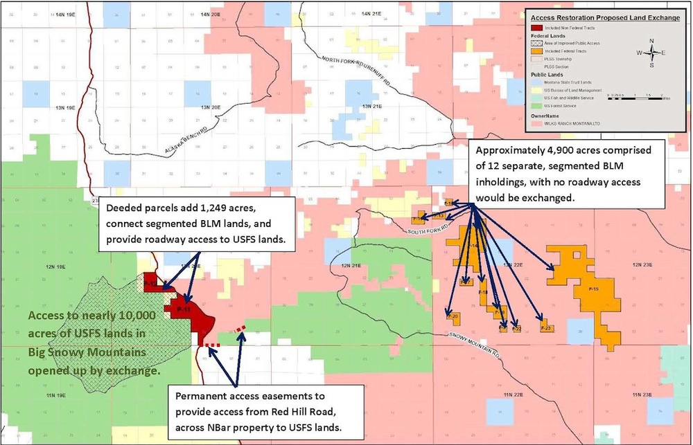 Map showing the BLM inholdings that the Wilks brothers want to acquire.