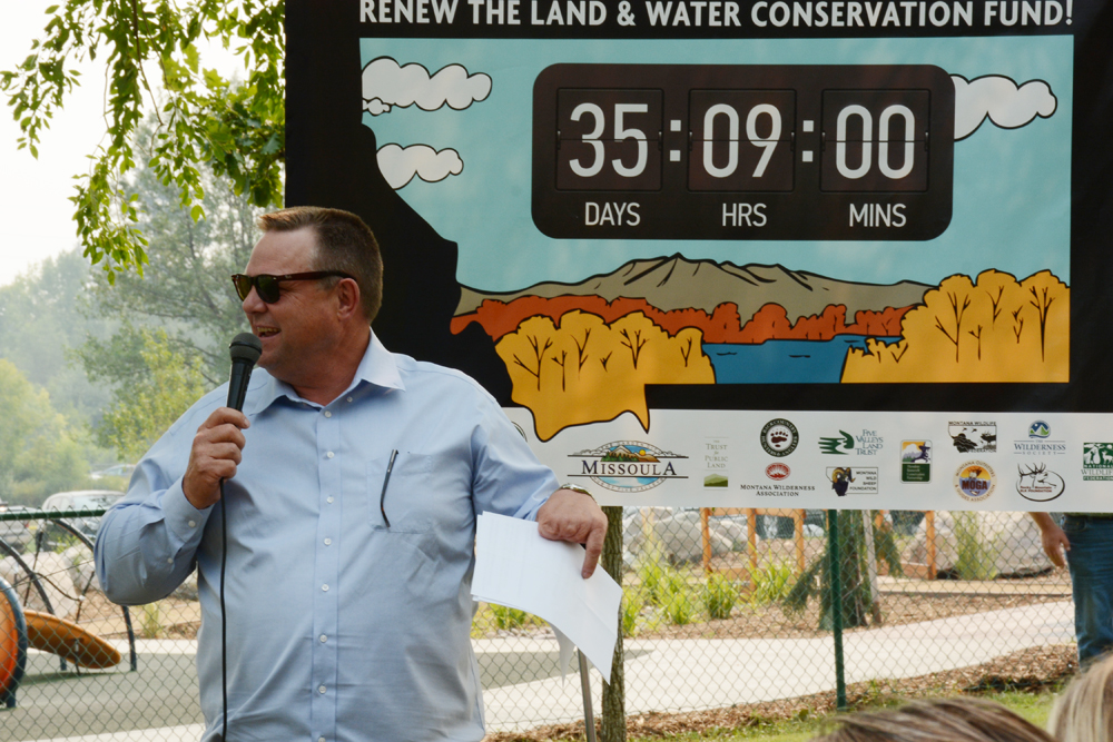 Sen. Jon Tester interacts with the crowd Monday at a Missoula rally for the Land and Water Conservation Fund.                                                                             Photo by Laura Lundquist