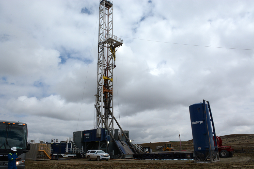 A natural-gas field drilling operation near Pinesdale, Wyo.                                                                                                                                                                        Photo by Laura Lundquist