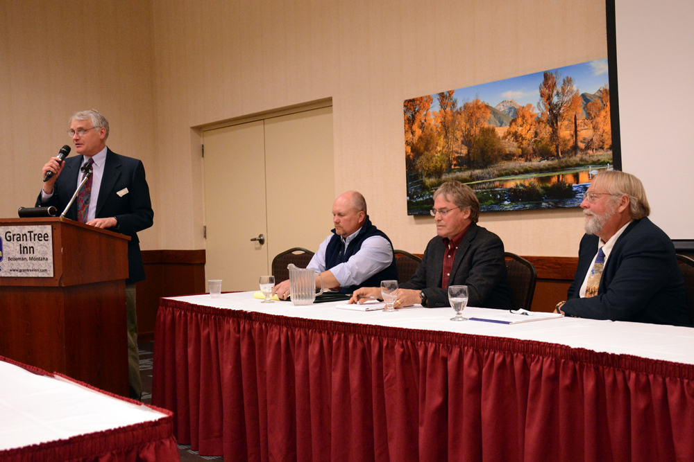 FWP Chief of Staff Paul Sihler, left, introduces Sam Sheppard, Kurt Alt and Arne Dood to the public during a November 2014 panel of Region 3 supervisor candidates. Photo by Laura Lundquist