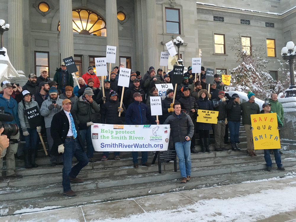 Smith River advocates rally at the capitol in Helena on Monday before attending the Department of Environmental Quality scoping meeting on the Black Butte Mine project. Photo by Laura Lundquist