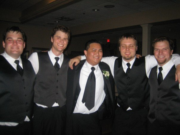 This is me with my college roommates on my wedding day (Me, Chris Barr, Alex Gapud, Alan Sell (with his eyes closed), and Alex Smith). You truly can meet your best friends in college and they truly can be friends who stay your friends for the long haul.