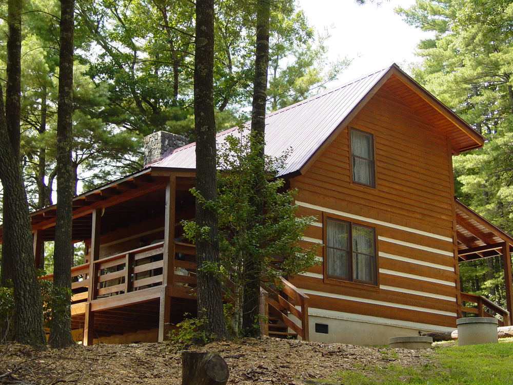 Private log cabin vacation rentals hot tubs boone Cabin creek 15