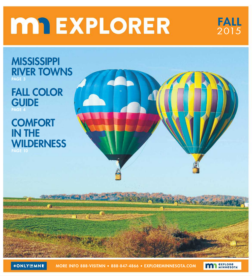 Caledonia's 2014 Fall Balloon Rally graces the cover of Explore Minnesota's FALL 2015 guide. Thank you to the Caledonia Argus for submitting this photo