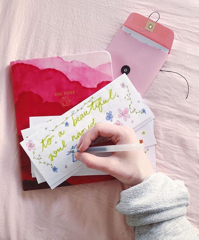 We 💗 our Letter Writers! Tag a girl below who you think would make a great letter writer ✨ Pc: @lexi_oneill • • • • • • • • #happyideas #snailmail #write_on #happymail #nationalletterwritingmonth #youareenough #spreadlove #makeadifference #believeinyourself #theletterproject #lettering #letterwriting #giveadvice #actsofservice #smilemore #girlpower #happymailideas #snailmaillove