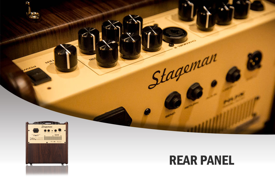 The Stageman AC-50 features several inputs and outputs making for a versatile set up for practice and jamming.