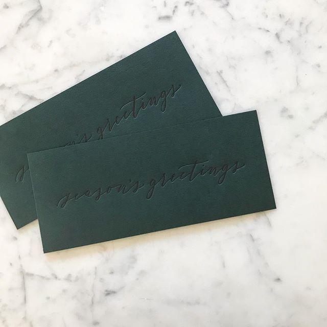 """Season's greetings"" for chocolate presents 🎁 from @honeycreeperchocolate . Calligraphy and print by OTS 😸 . . . #seasonsgreetings #christmas #christmastree #🎄 #happyholidays #❄️ #santa #🎅 #mrsclause #🤶 #merryandbright #festiveaf #⛄️ #letitsnow #redandgreen #seasonsgreetings #snowman #holidaycards #gifttags #letterpressholiday #snailmail #💌 #📬 #holidaycheer #holidayspirit"