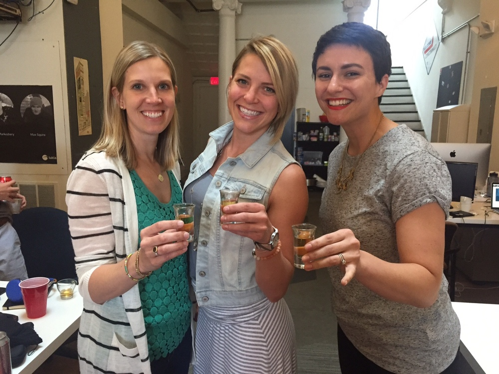 GILD Collective's cofounders celebrating recent success in obtaining initial customers. From left: Kelsey Pytlik, Jessie Deye, Rachel Bauer McCreary.