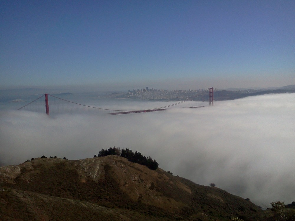 Foggy Golden Gate Bridge, View from the Marin Headlands, November 2011