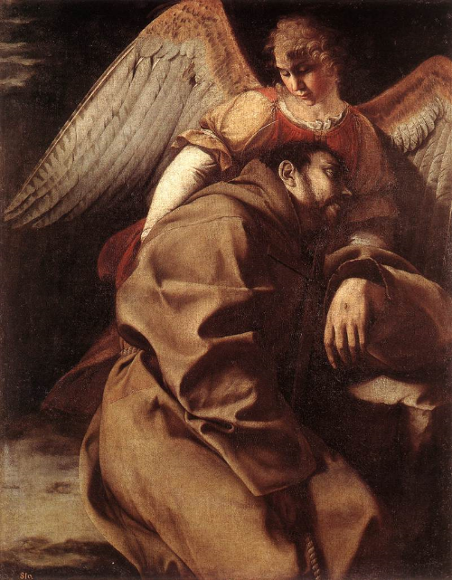 St. Francis held by an Angel by Gent  ileschi