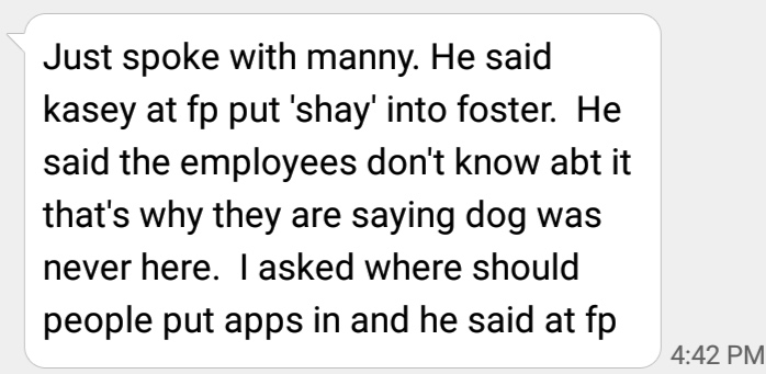 Animal Control Officer Maciel on April 17th tells concerned animal lover that Casey was fully aware
