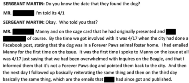 Forever Paws Director Casey Fredette states Forever Paws was not involved until AFTER the New Bedford Police Facebook post on April 17th.