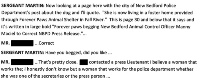 """Forever Paws Director Casey Fredette confirms he called the New Bedford Police and """"begged"""" them to fix the New Bedford Police post."""