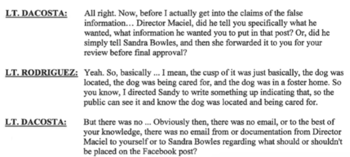 New Bedford Public Information Officer Nathaniel Rodriguez admits Maciel did not submit a report about this animal and written documentation exists.